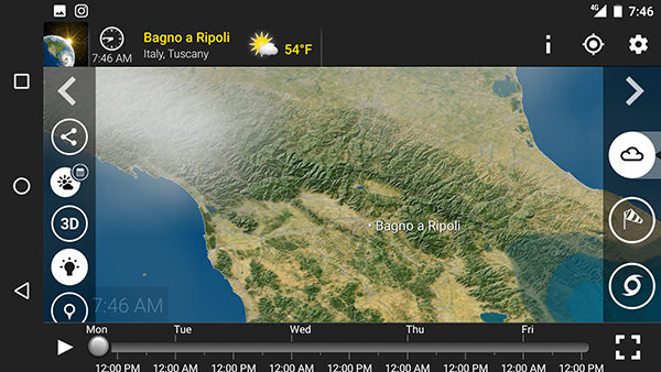 Image of Meteo Earth's weather prediction app for Android.