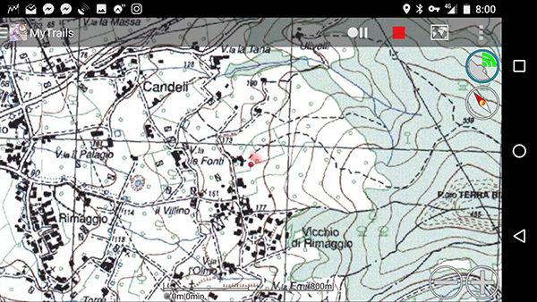 Istituto Geografico Militare maps on MyTrails app for Android.
