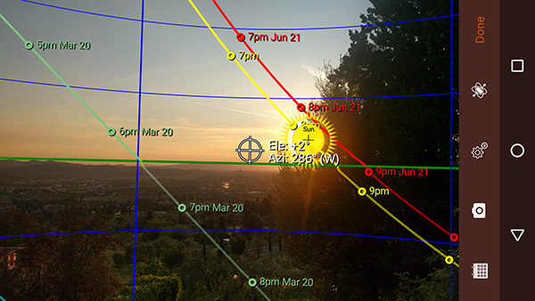 Image of Sun Seeker app for Android phones.