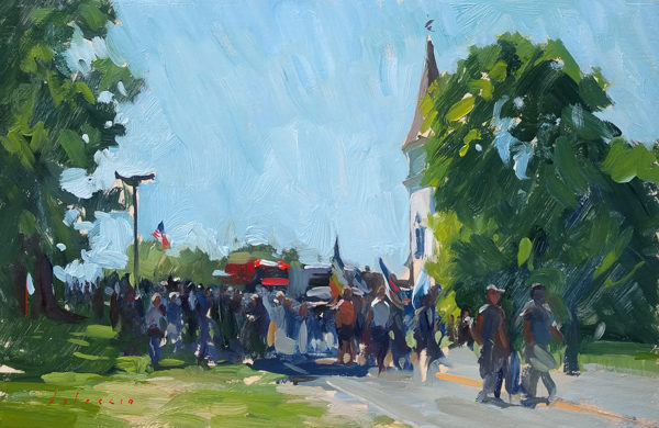 Plein air painting of a Fourth of July Parade on Deer Isle, ME