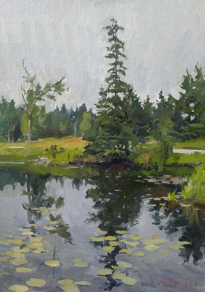 Landscape painting of Ames Pond, Deer Isle, ME