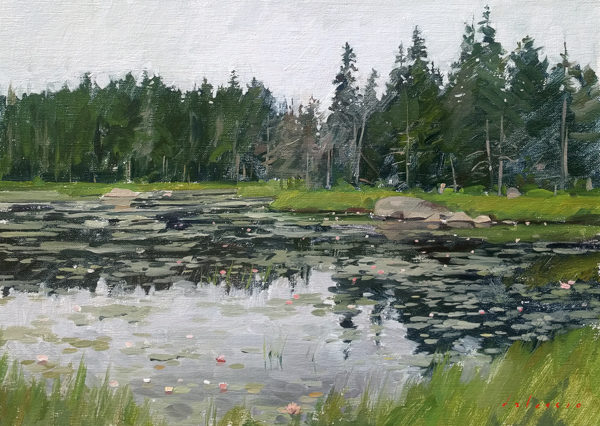 Oil painting of Ames Pond, Stonington, Deer Isle, ME.