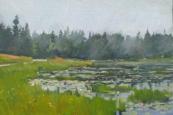 Field painting of Ames Pond, Deer Isle, ME