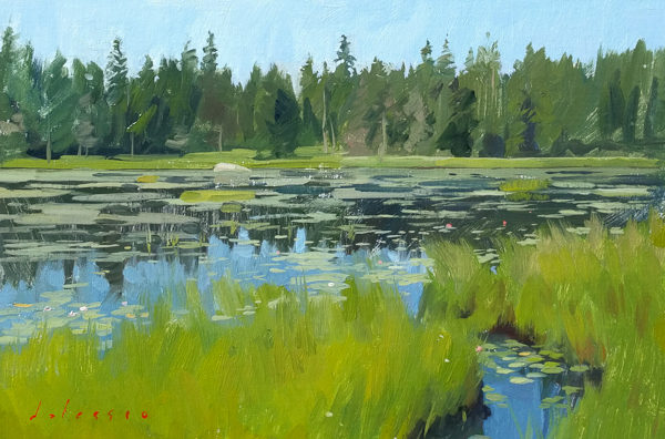 Plein air landscape painting of Ames Pond, Stonington, ME.