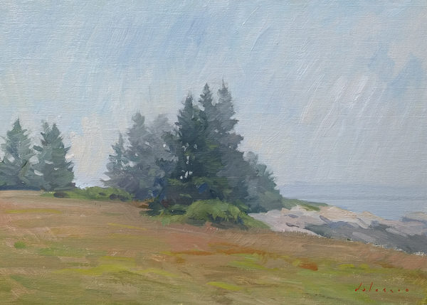 Plein air painting of fog lifting on Deer Isle, ME.
