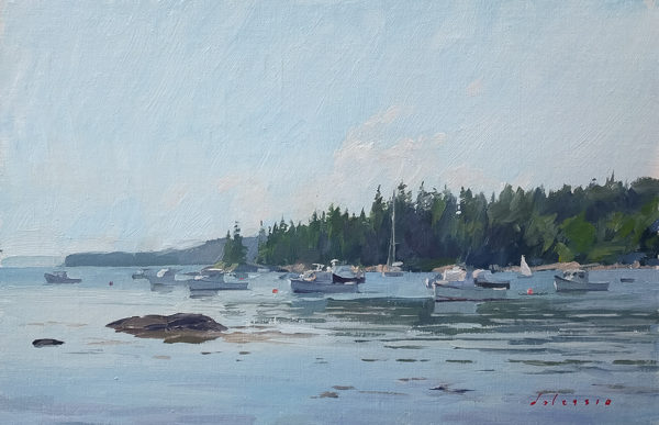 Plein air painting of lobster boats in Burnt Cove, Deer Isle, ME.