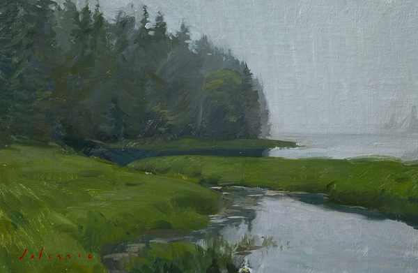 Plein air landscape painting of fog on Deer Isle, ME