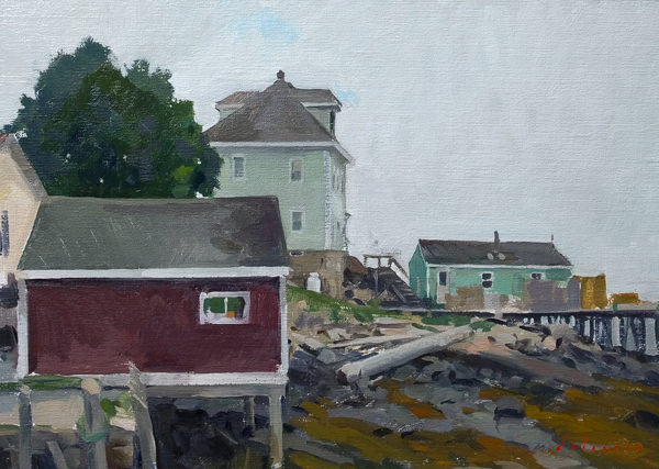 Plein air landscape painting of a fisherman's house on a grey day in Stonington.