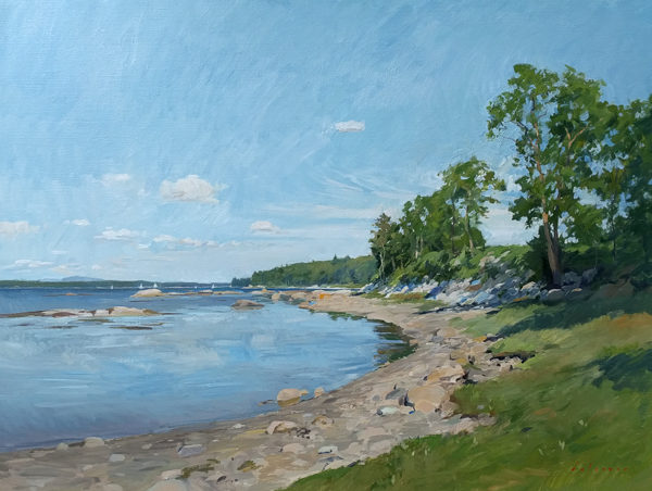 Large plein air painting of the view towards Eggemoggin Reach from Grays Cove on Deer Isle.