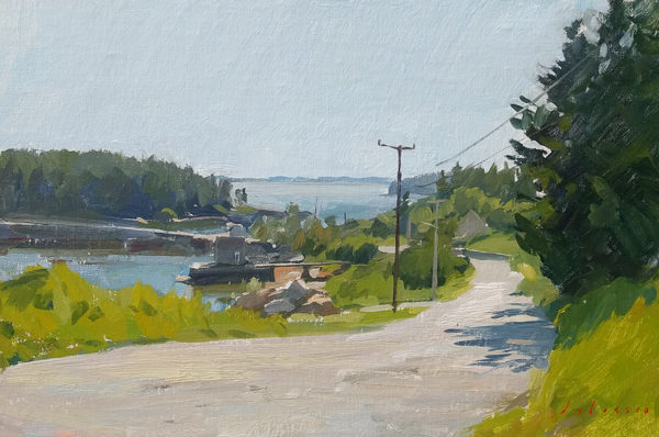 Landscape painting of Greenhead Road on Deer Isle, ME