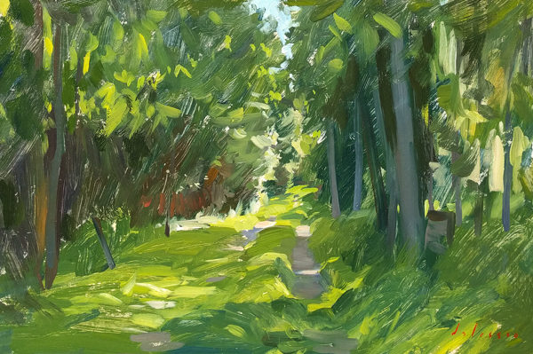 Plein air painting of an overgrown driveway.
