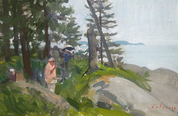 Painting of plein air landscape painters near Sand Beach, Deer Isle, ME