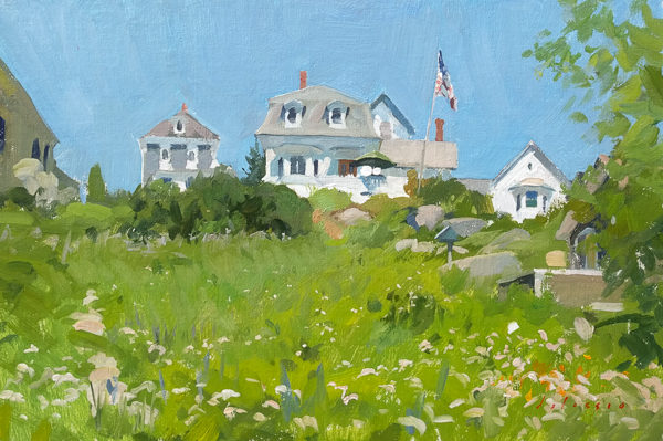 Field painting of houses in Stonington, ME.