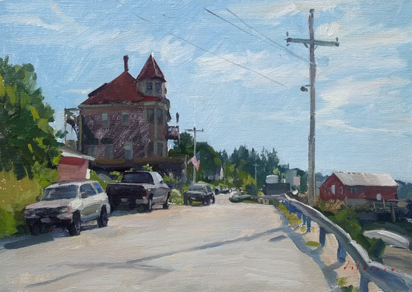 Plein air landscape painting of morning in Stonington, Maine.