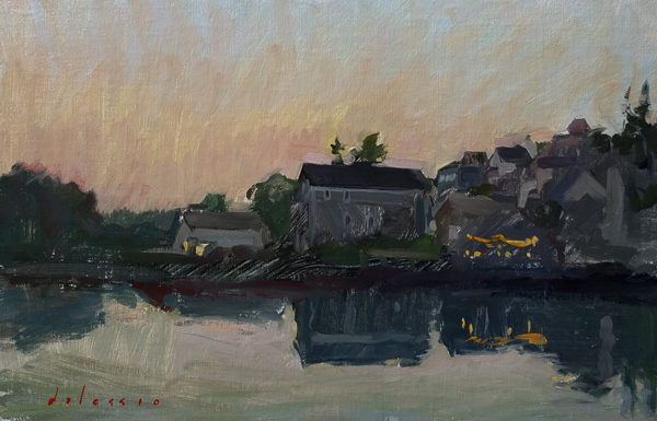 Landscape painting of sunset in Stonington, ME