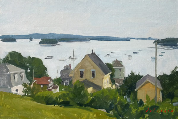 Plein air painting of the view from Church Street in Stonington, ME