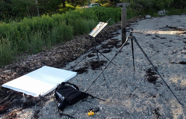 Image of a carbon fiber easel and palette system for large plein air landscape paintings.