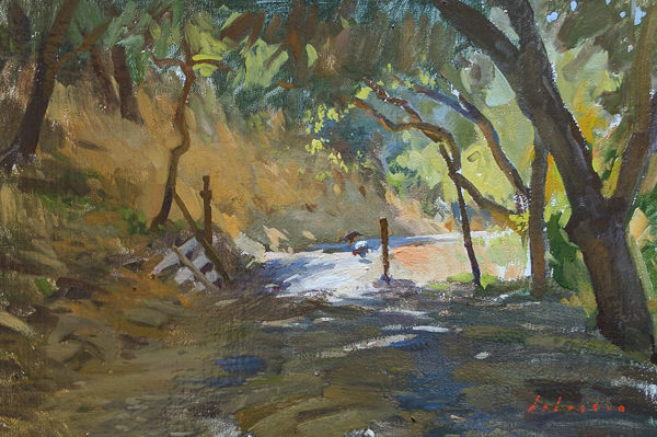 Plein air landscape painting of wild turkeys in Carmel Valley.