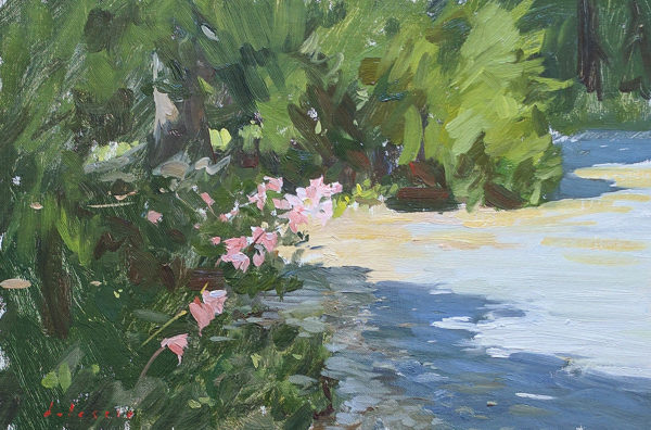 Plein air oil painting of belladonna lilies.