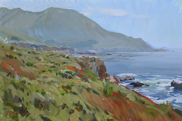 Plein air painting of chaparral at Garapata State Beach, Big Sur, CA.