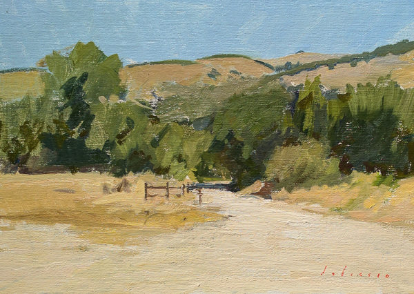 Plein air painting of Garland Park.