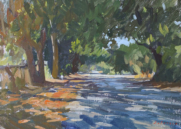 Plein air painting of Garzas Road, Carmel Valley, CA.