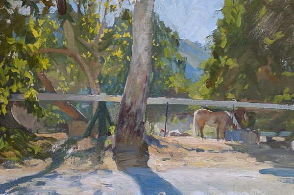 Plein air painting of horses next to Garzas Road in Carmel Valley, CA.