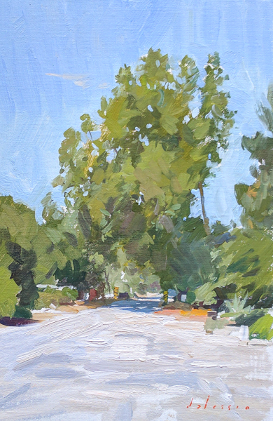 Plein air painting of a one lane bridge.