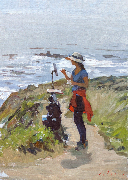 Plein air painting of a painter painting in Big Sur.