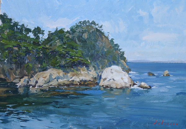 Plein air painting of Point Lobos State Reserve in Carmel, CA.