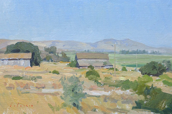 Plein air painting of a farm near Soledad, CA.